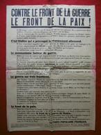 AFFICHE PROPAGANDE PPF DORIOT CONTRE LE FRONT DE LA GUERRE LE FRONT DE LA PAIX 85 X 60 Cm - Affiches