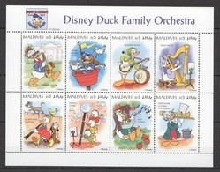 D317 MALDIVES CARTOONS WALT DISNEY DUCKS FAMILY ORCHESTRA 1KB MNH - Disney