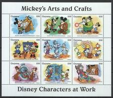 D318 GUYANA CARTOONS DISNEY CHARACTERS AT WORK MICKEY'S ARTS & CRAFTS 1KB MNH - Disney