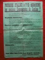 PARTI POPULAIRE FRANCAIS AFFICHE STALINE A ASSASSINÉ LES ANCIENS COMPAGNONS DE LENINE 86 X 60 Cm - Affiches