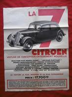 AUTOMOBILE CITROEN TRACTION AVANT 7 VOITURE DE CONCEPTION 65 X 50 Cm  AFFICHE Recto Verso - Affiches