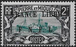 1941 - 42  Saint Pierre Et Miquelon  N° 243  Nf *. MLH  Signé Kasimir Bileski.  Bateau . Surcharge France Libre . - St.Pierre & Miquelon