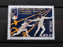 *ITALIA* USATI 2003 - MONDIALI SCHERMA CADETTI JUNIORES - SASSONE 2679 - LUSSO/FIOR DI STAMPA - 6. 1946-.. Repubblica