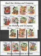 D319 GUYANA CARTOONS DISNEY CHARACTERS AT WORK HARD HAT MICKEY & COMPANY 1KB+7ST MNH - Disney