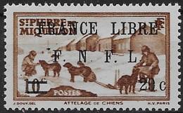 1941 - 42  Saint Pierre Et Miquelon  N° 274  Nf *. MLH  Signé Kasimir Bileski.  Attelage . Surcharge France Libre . - St.Pierre & Miquelon