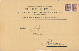 244/28 -- PREOS - Paire Armoiries 2 C BRUXELLES 10 S / Devant D' IMPRIME - Precancels