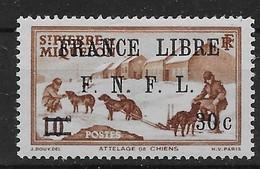 1941 - 42  Saint Pierre Et Miquelon  N° 275  Nf *. MLH  Signé Kasimir Bileski.  Attelage. . Surcharge France Libre . - St.Pierre & Miquelon
