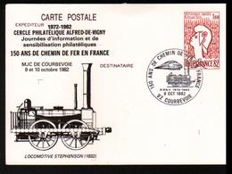 Entier Postal ,stationery Card, 150 Ans Du Chemin De Fer En France, 1982, Courbevoie - Postwaardestukken