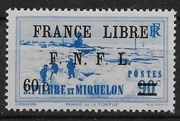 1941 - 42  Saint Pierre Et Miquelon  N° 276  Nf *. MLH  Signé Kasimir Bileski.  Attelage. . Surcharge France Libre . - St.Pierre & Miquelon