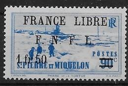 1941 - 42  Saint Pierre Et Miquelon  N° 277  Nf *. MLH  Signé Kasimir Bileski.  Attelage. . Surcharge France Libre . - St.Pierre & Miquelon