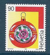 Timbres Neufs** De Suisse, N°1633 Yt, Noël, Boule Réfléchissante - Neufs