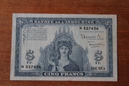 Billet   5 Francs  Banque De L'Indochine  Nouméa - Billets