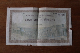 Billet 5000 Francs  Banque D'état Du Maroc - Morocco