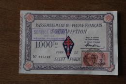 Billet  1000 Francs   Rassemblement Du Peuple Français   Tampon Service D'ordre De La Region Parisienne - 1871-1952 Anciens Francs Circulés Au XXème