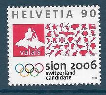Timbres Neufs** De Suisse, N°1567, Candidature De Sion Aux Jeux Olympiques D'hiver De 2006 - Neufs