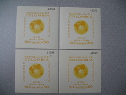 Bloc   N° 4 X 4 Expl.    Republica De  Colombia Correos Ordinario  UPU 1949  Neuf ** - Colombie