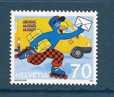 Timbres Neufs** De Suisse, N°1538, Globi à La Poste, Facteur Sur Rollers, Dessin Animé - Neufs