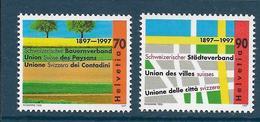 Timbres Neufs** De Suisse, N°1544-5, Ville Et Campagne, Champs Cultivés, Plan De Ville - Neufs