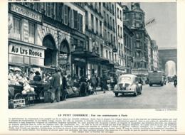 Photo (1959) : Une Rue Commerçante à Paris, 4CV Renault, Magasins, Boucherie, Au Lys Rouge, Chaussures... Légende - Sin Clasificación
