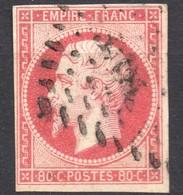 NAPOLEON ND N° 17B ROSE-VIF OB. PC   TB   COTE > 90 € - 1853-1860 Napoleon III