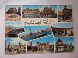 """Cartolina Viaggiata """"SALUTI DALL 'ITALIA"""" 1965 - Greetings From..."""