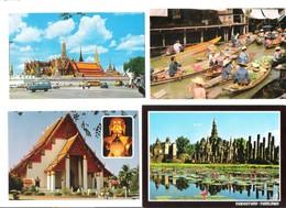 Thailand - 4 Cards - Bangkok - Wat Phra Keo - Ayuthaya - Floating Market - Sukhothai - Nice Stamps - Stamp - Timbre - Thaïlande
