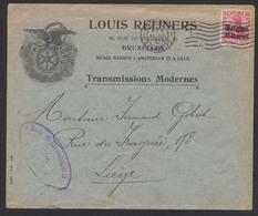 """Guerre 14-18 - OC N°3 Sur Lettre Obl Mécanique """"Bruxelles"""" (1915) + Censure Vers Liège - Guerre 14-18"""