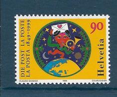 Timbres Neufs** De Suisse, N°1600 Yt, 150 Ans De La Poste, Globe Terrestre, Cor, Coeur - Neufs