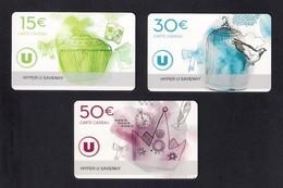 3 Carte Cadeau  Hyper U   SAVENAY (44).   Gift Card. - Cartes Cadeaux