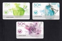 3 Carte Cadeau Super U   BLAIN (44).    Gift Card. Geschenkkarte - Cartes Cadeaux