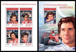 Mozambique 2014, Race F1 Ayrton Senna, Klb + S/s MNH - Cars