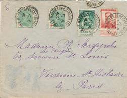 210/28 -  Lettre TP CROIX ROUGE Et Pellens - LE HAVRE Spécial 1915 Vers Environs De PARIS - Courrier Privé SUPERBE - 1918 Rotes Kreuz