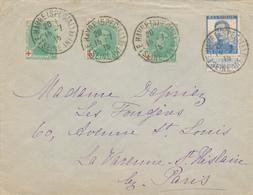 211/28 -  Lettre TP CROIX ROUGE Et Pellens - LE HAVRE Spécial 1915 Vers Environs De PARIS - Courrier Privé SUPERBE - 1914-1915 Rode Kruis