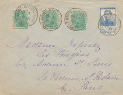 211/28 -  Lettre TP CROIX ROUGE Et Pellens - LE HAVRE Spécial 1915 Vers Environs De PARIS - Courrier Privé SUPERBE - 1918 Rotes Kreuz