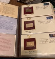 HUGE ALBUM FF USA 22 KARAT GOLD STAMP ON STAMP REPLICAS ON FIRST DAY COVERS 49 COVERS SEE ALL PHOTOS - United States