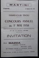 PROGRAMME GRAND CONCOURS DE BOULES FANNY-CLUB TIVOLI CAHORS 1958 MARTINI - Pétanque