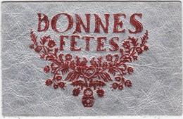 D634 CARTE BONNES FÊTES - ARGENTEE, ECRITURE ROUGE - EN CUIR VERITABLE - Postcards