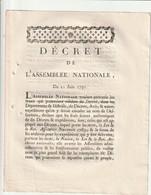 Décret De L'assemblée Nationale Portant Sur Les Sceaux... - Decrees & Laws