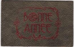 D635 CARTE BONNE ANNEE - DOREE, ECRITURE ROUGE - EN CUIR VERITABLE - Postcards