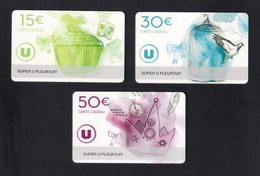 3 Carte Cadeau  Super U   PLEURTUIT  (35).   Gift Card. Geschenkkarte - Cartes Cadeaux