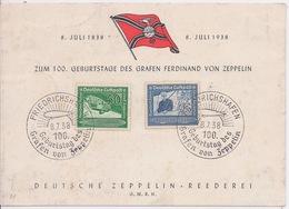 ALLEMAGNE EMPIRE - 100 ANS VON ZEPPELIN SUR CARTE 1938 - Luftpost
