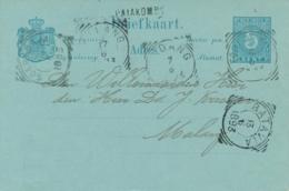 Nederlands Indië - 1893 - 5 Cent Cijfer, Briefkaart G10 Van Langstempel PAJAKOMBO Naar VK Malang (5 Versch Stempels) - Indes Néerlandaises