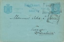 Nederlands Indië - 1893 - 5 Cent Cijfer, Briefkaart G10 Van Langstempel RANTJA EKEK Via VK Garoet Naar Soerabaja - Indes Néerlandaises