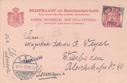 Nederlands Indië - 1902 - 7,5 Cent Cijfer, Briefkaart G12 Van Langstempel TAROETOENG Via VK SIBOGA Naar Wiesbaden - Indes Néerlandaises