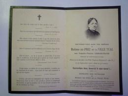 FAIRE-PART De Décès De  Mme Des PREZ De La  VILLE TUAL  Décédée à La Ville Tual En Illifaut  (22)  1911    XXX - Décès