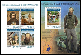 Mozambique 2014, The African Explorer John Speke, Klb + S/s MNH - Geography