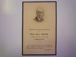 FAIRE-PART De Décès De  M. Marie , Henri  DURAND  1928    XXX - Décès