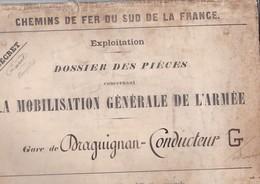 """CHEMIN DE FER DU SUD DE LA FRANCE, Enveloppe De Transport De Pièces """"Secret"""", Gare De Draguignan - Documents"""