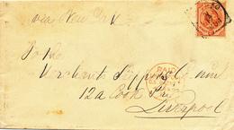 154/28 - Lettre TP 25 Cent CURACAO 1894 Vers LIVERPOOL - PAID LIVERPOOL US Packet - Manuscrit Via New York - Curaçao, Antilles Neérlandaises, Aruba
