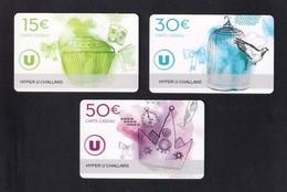 3 Carte Cadeau  Hyper U  CHALLANS  (85).   Gift Card. Geschenkkarte - Cartes Cadeaux